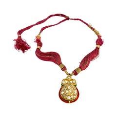 22 Karat Yellow Gold India Enamel Diamonds Necklace