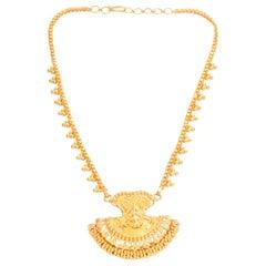 22 Karat Yellow Gold Indian Design Necklace