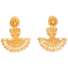 22 Karat Yellow Gold Indian Earrings