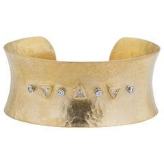 22 Karat Yellow Gold Open Cuff Bracelet With Yellow Triangle Diamonds