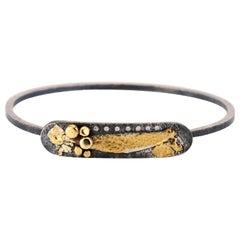 22 Karat Yellow Gold, Oxidized Sterling Silver, Diamond Abstract Bangle Bracelet