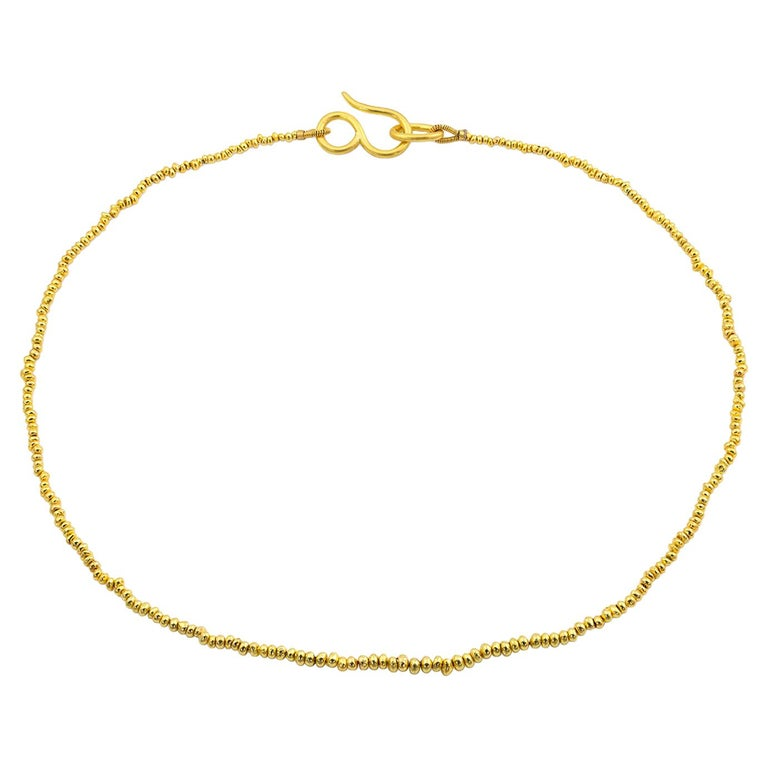 22 Karat Yellow Gold Recycled Bead Necklace For Sale