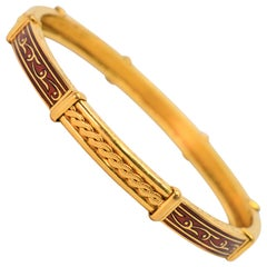 22 Karat Yellow Gold Red Enamel Bangle Bracelet