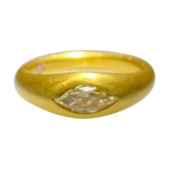 22 Karat Yellow Gold Ring with Fancy Color Diamond