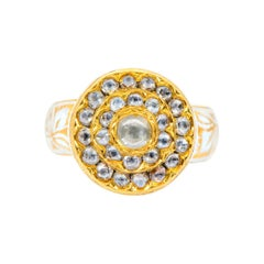 22 Karat Yellow Gold Rose-Cut Diamond Ring with White Enamel Work Handcrafted