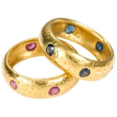 22 Karat Yellow Gold Sapphire and Ruby Hammer Band Rings - Size 6.75