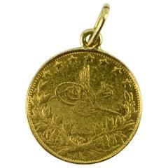 22 Karat Yellow Gold Sultan Mohammed V 1915 100 Kurush Coin Charm Pendant