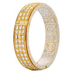 22 Karat Yellow Gold Three Line Diamond and White Enamel Bangle Handcrafted