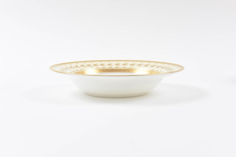 Gold 22 Tiffany Porcelain Rim Soup Bowls, Minton England with Raised Tooled Gilding For Sale