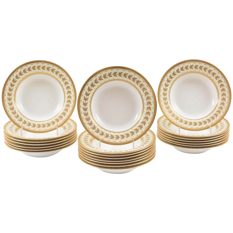 22 Tiffany Porcelain Rim Soup Bowls, Minton England with Raised Tooled Gilding