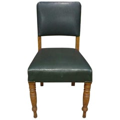 22 x Aesthetic Movement Oak Upholstered Dining Chairs with Turned Front Legs