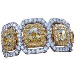 2.20 Carat 14 Karat White Gold Cushion Engagement Ring