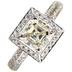 2.20 Carat Asscher Cut Diamond Ring Halo Knife Edge 14 Karat Best