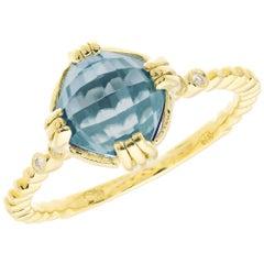 2.20 Carat Blue Topaz Amethyst Diamond Yellow Gold Ring