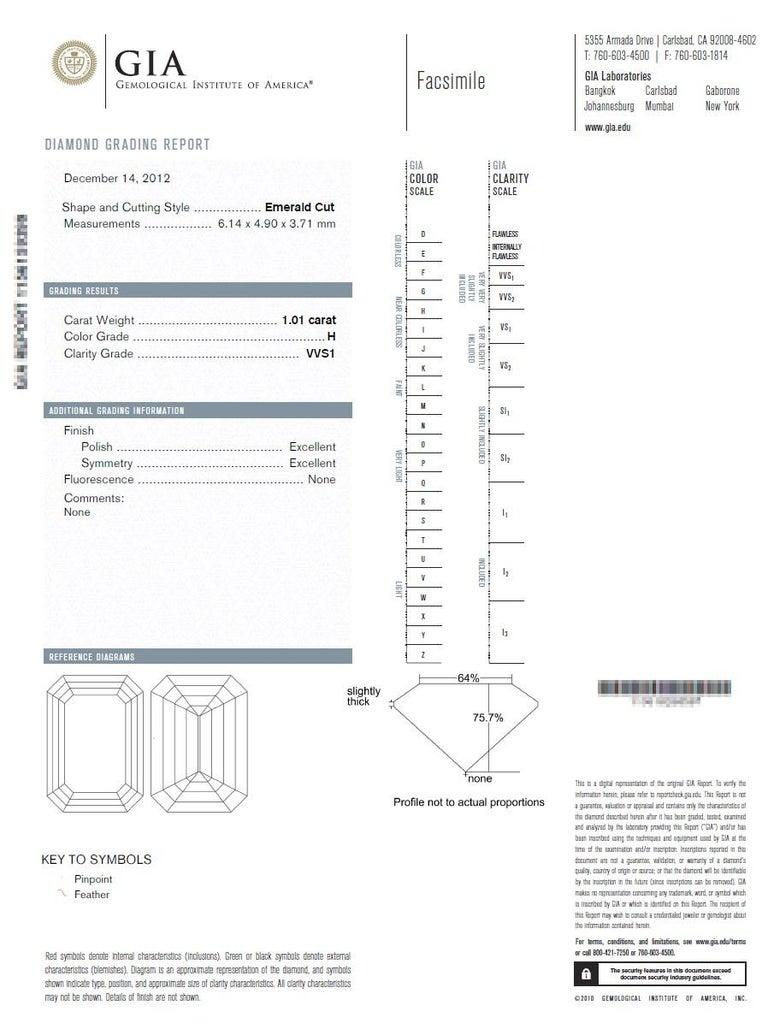 2.20 Carat Centre Three-Stone Emerald Cut Diamond Platinum Ring GIA Certified For Sale 6