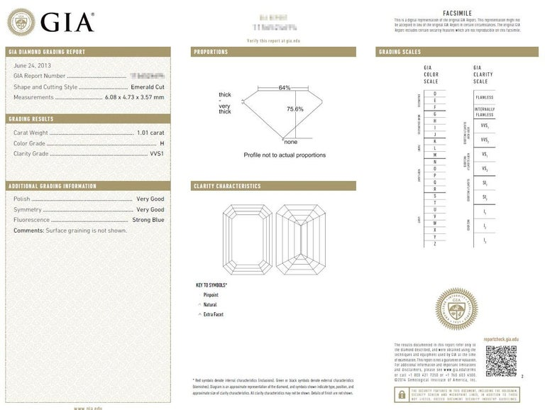 2.20 Carat Centre Three-Stone Emerald Cut Diamond Platinum Ring GIA Certified For Sale 8