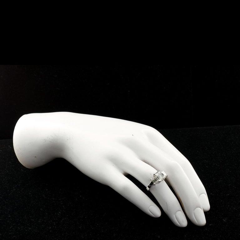 2.20 Carat Centre Three-Stone Emerald Cut Diamond Platinum Ring GIA Certified For Sale 2