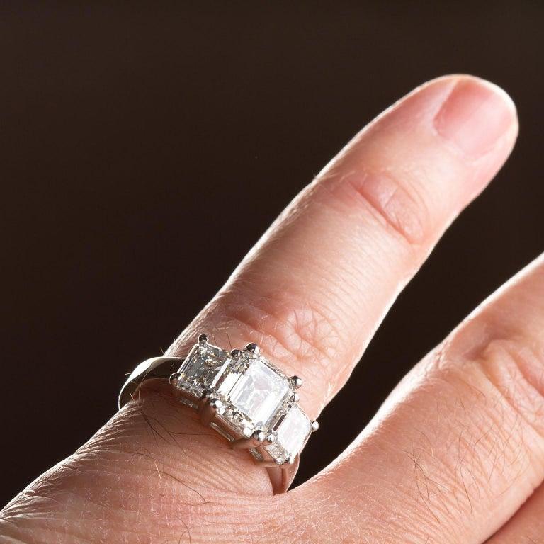 2.20 Carat Centre Three-Stone Emerald Cut Diamond Platinum Ring GIA Certified For Sale 5