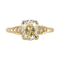 2.20 Carat Cushion Cut Diamond Set in a Handcrafted Yellow Gold Engagement Ring