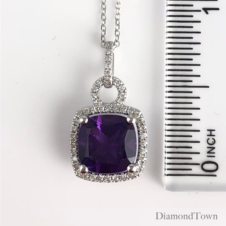2.20 Carat Cushion Cut Fine Amethyst and Diamond Halo Pendant in 14 Karat Gold In New Condition For Sale In New York, NY