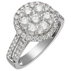 2.20 Carat Diamond 18 Karat White Gold Cluster Engagement Ring