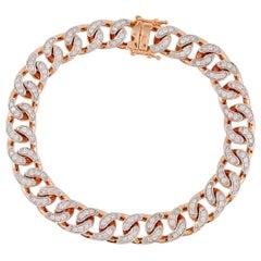 2.20 Carat Diamond Chain Link 18 Karat Rose Gold Bracelet