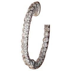 2.20 Carat Diamond In & Out Hoops in 14 Karat White Gold
