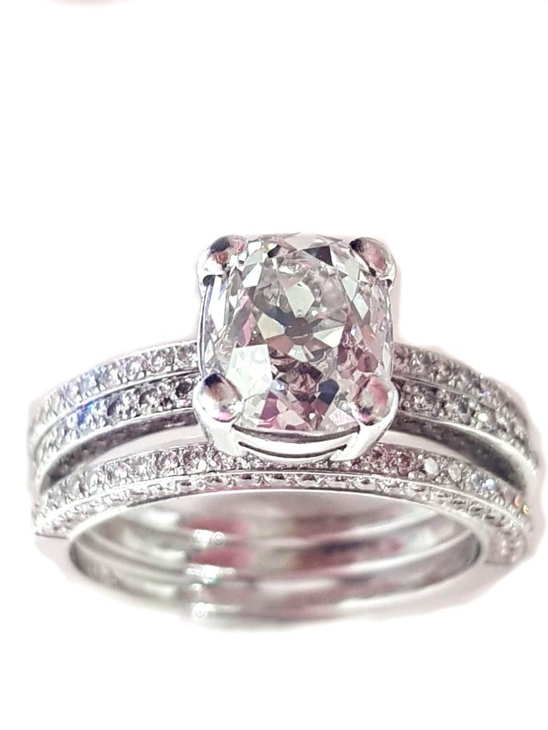 Contemporary 2.20 Carat European Old Cut Diamond with Wed Fit Bands 18 Carat White Gold For Sale