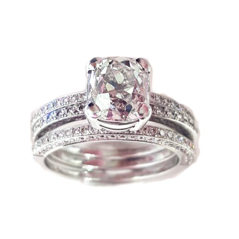 Antique Cushion Cut 2.20 Carat European Old Cut Diamond with Wed Fit Bands 18 Carat White Gold For Sale