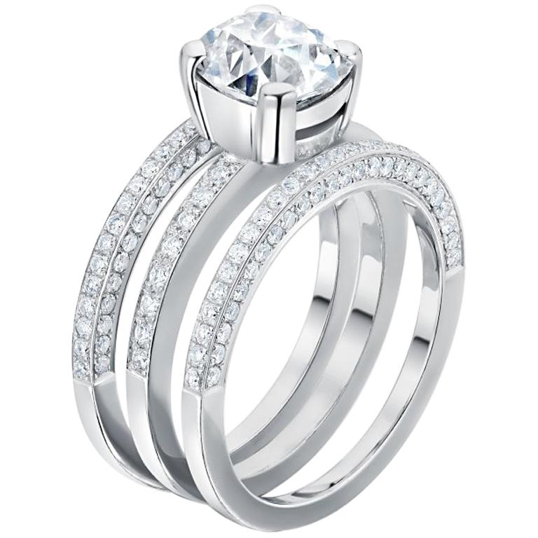 2.20 Carat European Old Cut Diamond with Wed Fit Bands 18 Carat White Gold For Sale