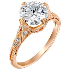 2.20 Carat GIA Vintage Ring, Round Brilliant Diamond Ring 18 Karat Rose Gold