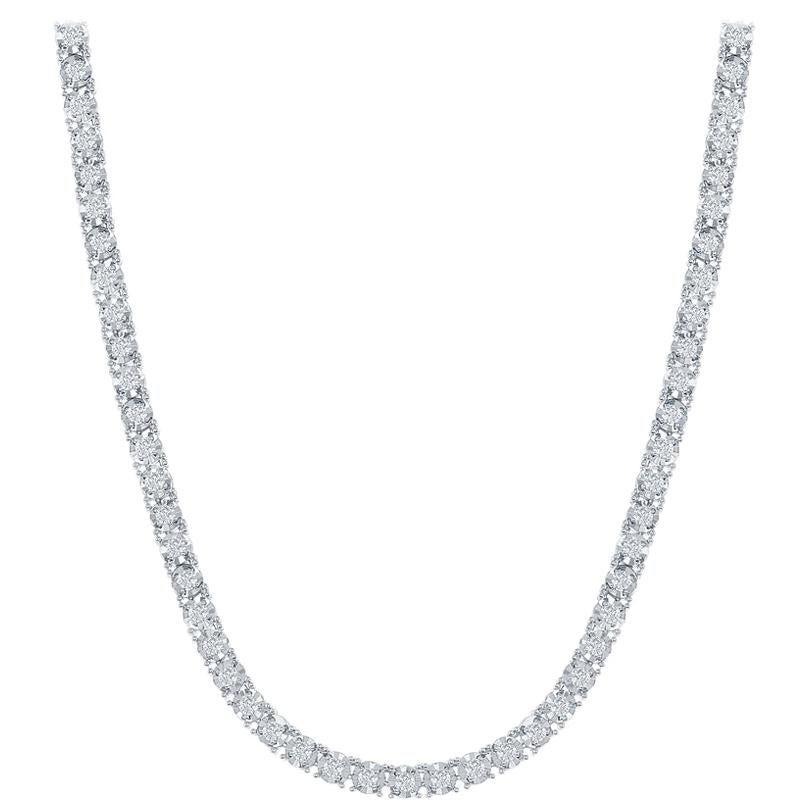 2.20 Carat Illusion Tennis Necklace White Gold