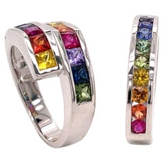 2..20 Carat Multi-Color Princess Cut Sapphire Ring in 18 Karat Gold