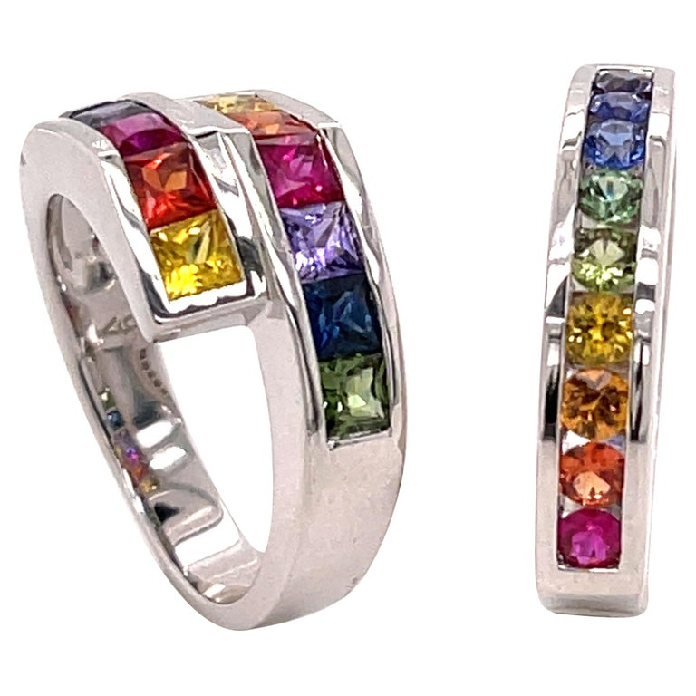 2..20 Carat Multi-Color Princess Cut Sapphire Ring in 18 Karat Gold For Sale
