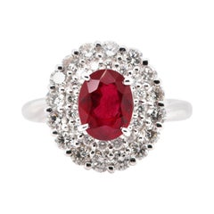 2.20 Carat, Natural, Burma, Pigeon's Blood Ruby and Diamond Ring Set Platinum