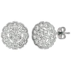 2.20 Carat Natural Diamond Cluster Earrings G SI 14 Karat White Gold