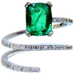 2.20 Carat Natural Emerald Ring Swirl Snake Mod Deco 14 Karat