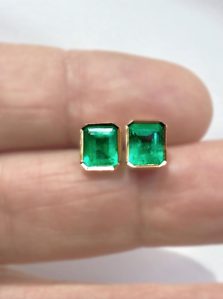 Emerald Cut 2.20 Carat Natural Colombian Emerald Stud Earrings 18 Karat Gold For Sale