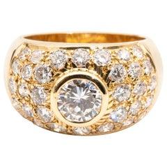 2.20 Carat Round Brilliant Cut Diamond 18 Carat Yellow Gold Domed Dress Ring