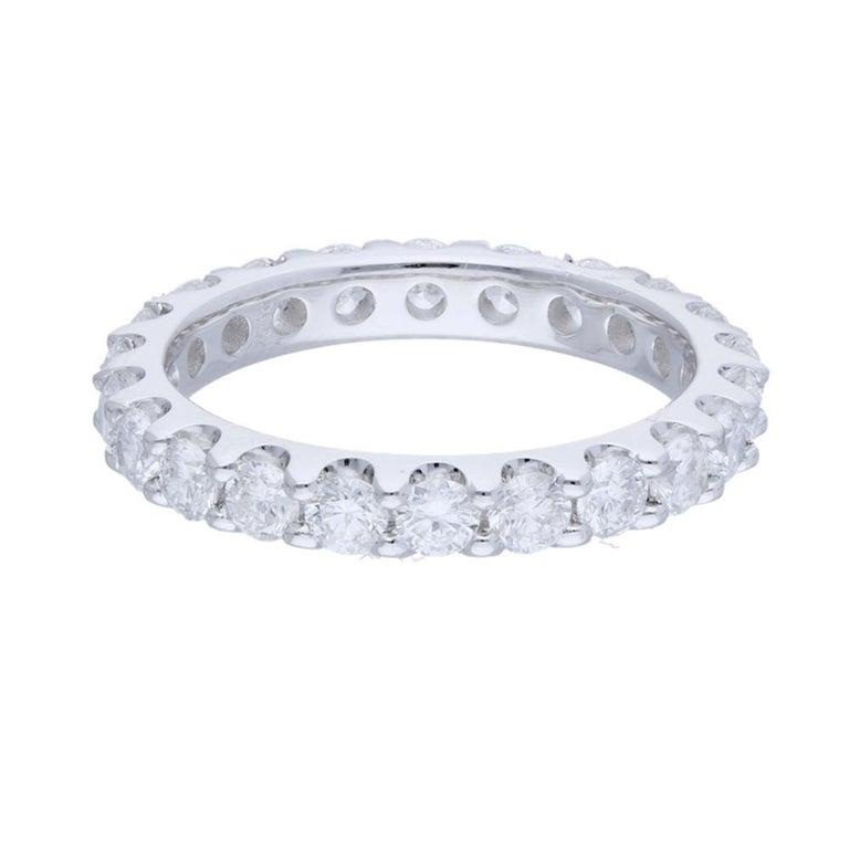 Art Nouveau 2.20 Carat Round Diamond Band Ring 14 Karat Gold Diamond Eternity Diamond Ring For Sale