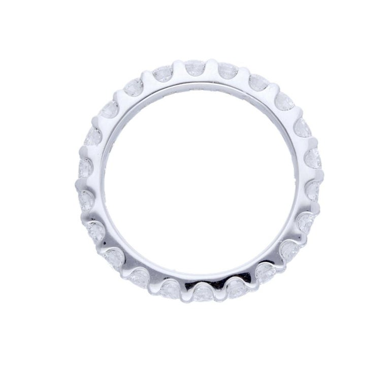 Women's or Men's 2.20 Carat Round Diamond Band Ring 14 Karat Gold Diamond Eternity Diamond Ring For Sale