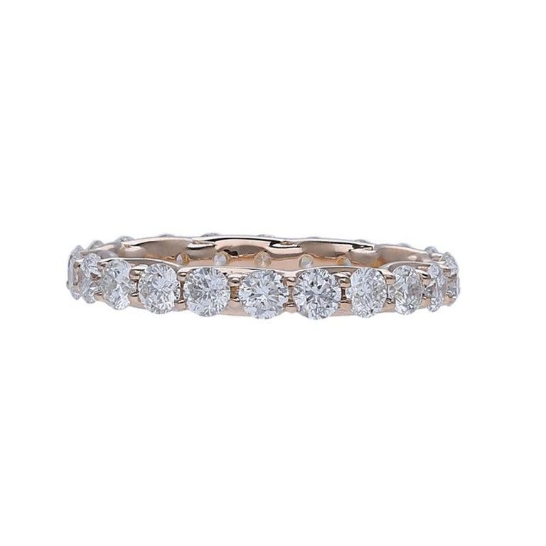 Art Nouveau 2.20 Carat Round Diamond Eternity Ring 14 Karat Rose Gold Diamond Band Ring For Sale