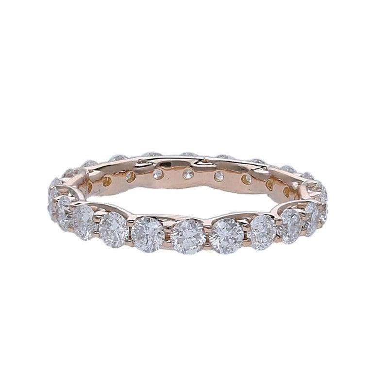 Round Cut 2.20 Carat Round Diamond Eternity Ring 14 Karat Rose Gold Diamond Band Ring For Sale