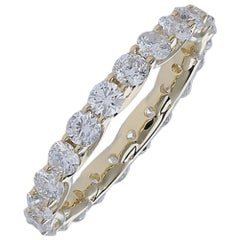 2.20 Carat Round Diamond Eternity Ring 14 Karat Yellow Gold Diamond Band Ring