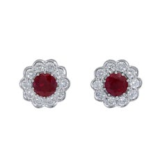 2.20 Carat Round Ruby and Diamond Flower Stud Earrings