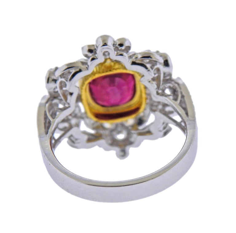 Round Cut 2.20 Carat Ruby Diamond Gold Ring For Sale
