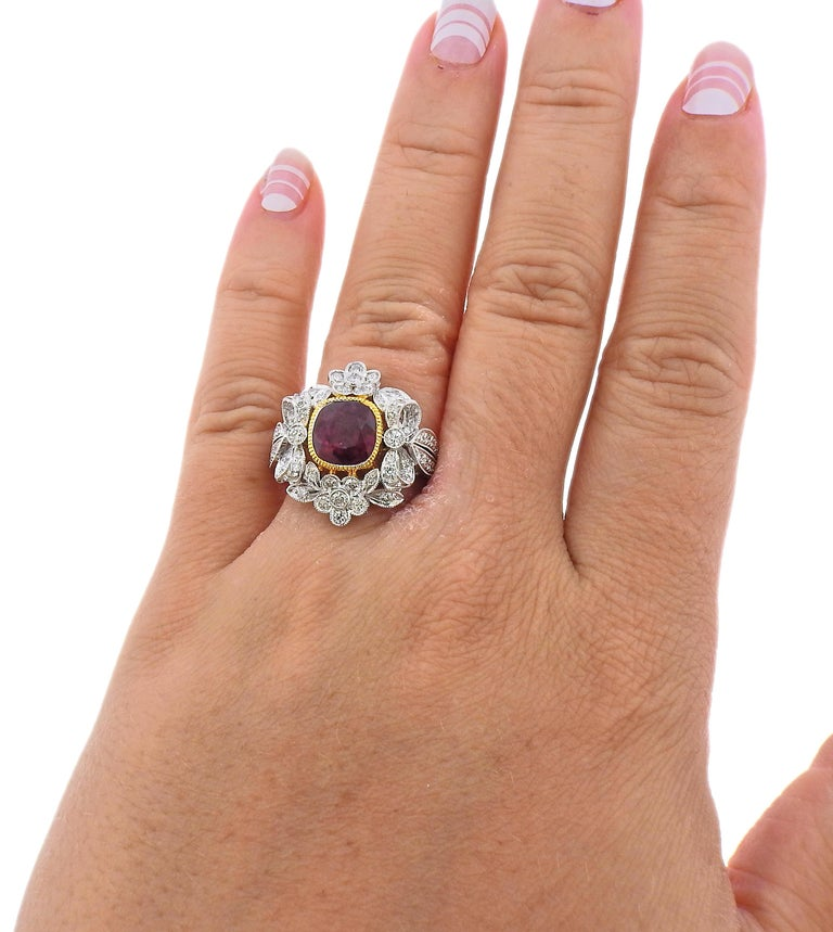 2.20 Carat Ruby Diamond Gold Ring In Excellent Condition For Sale In New York, NY