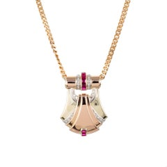 2.20 Carat Ruby Diamond Platinum Rose Gold Art Deco Pendant Necklace