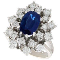 2.20 Carat Sapphire and 2.54 Carat Diamond White Gold Cocktail Ring