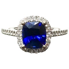 2.20 Carat Sapphire Diamond Halo Engagement Ring 14 Karat White Gold